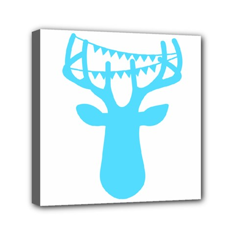 Party Deer With Bunting Mini Canvas 6  x 6