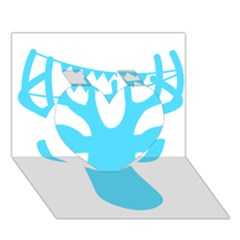 Party Deer With Bunting Heart 3D Greeting Card (7x5)