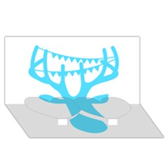 Party Deer With Bunting Twin Heart Bottom 3D Greeting Card (8x4)