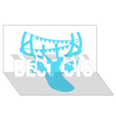 Party Deer With Bunting BEST SIS 3D Greeting Card (8x4)
