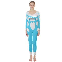 Party Deer With Bunting Long Sleeve Catsuit
