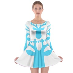 Party Deer With Bunting Long Sleeve Skater Dress