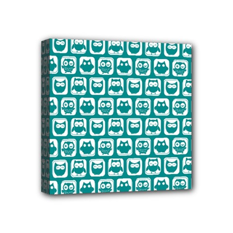 Teal And White Owl Pattern Mini Canvas 4  x 4