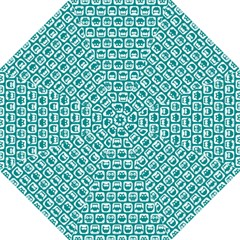 Teal And White Owl Pattern Folding Umbrellas