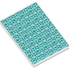 Teal And White Owl Pattern Large Memo Pads