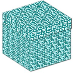 Teal And White Owl Pattern Storage Stool 12