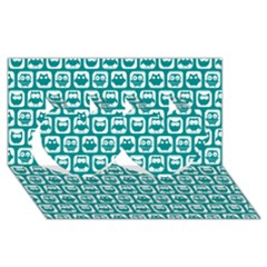 Teal And White Owl Pattern Twin Hearts 3d Greeting Card (8x4)