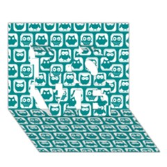 Teal And White Owl Pattern Love 3d Greeting Card (7x5)