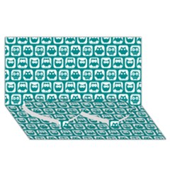 Teal And White Owl Pattern Twin Heart Bottom 3d Greeting Card (8x4)
