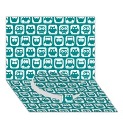 Teal And White Owl Pattern Circle Bottom 3D Greeting Card (7x5)