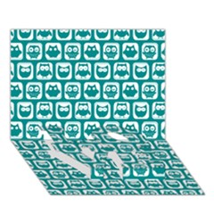Teal And White Owl Pattern LOVE Bottom 3D Greeting Card (7x5)