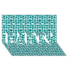 Teal And White Owl Pattern Party 3d Greeting Card (8x4)