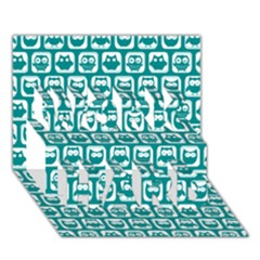 Teal And White Owl Pattern WORK HARD 3D Greeting Card (7x5)