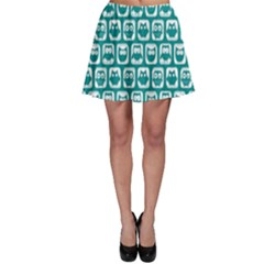 Teal And White Owl Pattern Skater Skirts
