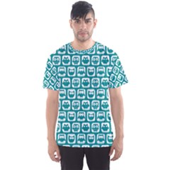 Teal And White Owl Pattern Men s Sport Mesh Tees