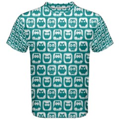 Teal And White Owl Pattern Men s Cotton Tees