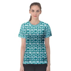 Teal And White Owl Pattern Women s Sport Mesh Tees
