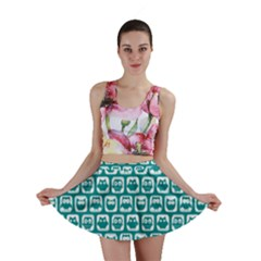 Teal And White Owl Pattern Mini Skirts