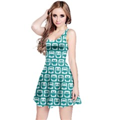 Teal And White Owl Pattern Reversible Sleeveless Dresses