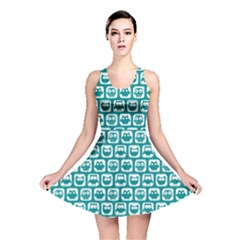 Teal And White Owl Pattern Reversible Skater Dresses