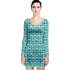 Teal And White Owl Pattern Long Sleeve Bodycon Dresses