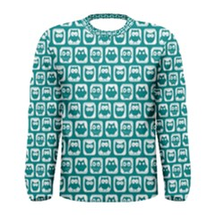 Teal And White Owl Pattern Men s Long Sleeve T Shirts