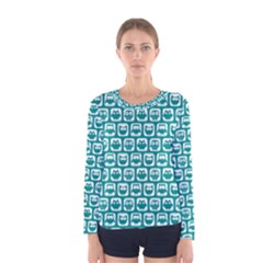 Teal And White Owl Pattern Women s Long Sleeve T-shirts
