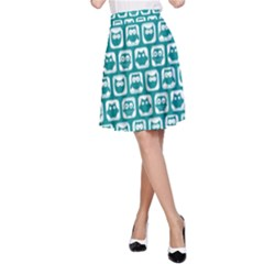 Teal And White Owl Pattern A Line Skirts