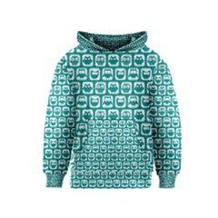 Teal And White Owl Pattern Kid s Pullover Hoodies