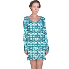 Teal And White Owl Pattern Long Sleeve Nightdresses