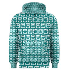 Teal And White Owl Pattern Men s Zipper Hoodies
