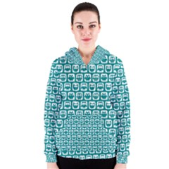Teal And White Owl Pattern Women s Zipper Hoodies