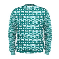 Teal And White Owl Pattern Men s Sweatshirts
