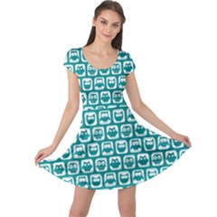 Teal And White Owl Pattern Cap Sleeve Dresses