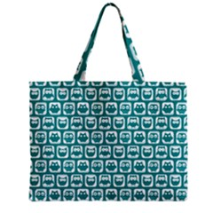 Teal And White Owl Pattern Zipper Tiny Tote Bags