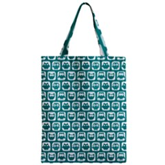 Teal And White Owl Pattern Zipper Classic Tote Bags