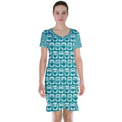 Teal And White Owl Pattern Short Sleeve Nightdresses