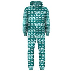 Teal And White Owl Pattern Hooded Jumpsuit (Men)
