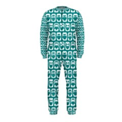 Teal And White Owl Pattern OnePiece Jumpsuit (Kids)