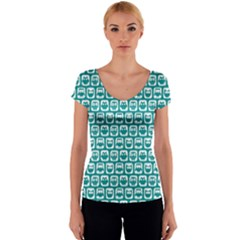 Teal And White Owl Pattern Women s V-Neck Cap Sleeve Top