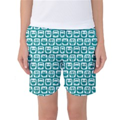 Teal And White Owl Pattern Women s Basketball Shorts