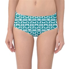 Teal And White Owl Pattern Mid-Waist Bikini Bottoms