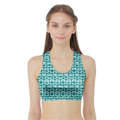 Teal And White Owl Pattern Women s Sports Bra with Border
