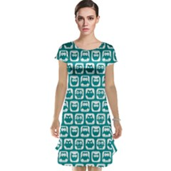 Teal And White Owl Pattern Cap Sleeve Nightdresses