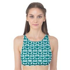 Teal And White Owl Pattern Tank Bikini Top