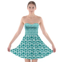 Teal And White Owl Pattern Strapless Bra Top Dress