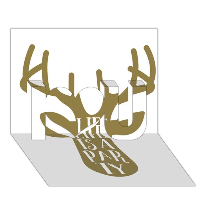 Life Is A Party Buck Deer I Love You 3D Greeting Card (7x5)
