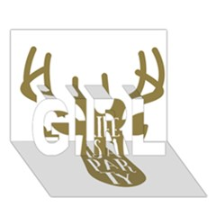 Life Is A Party Buck Deer GIRL 3D Greeting Card (7x5)