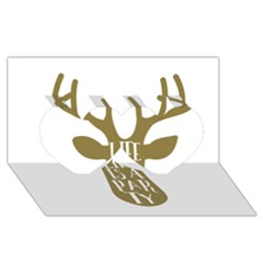 Life Is A Party Buck Deer Twin Hearts 3D Greeting Card (8x4)