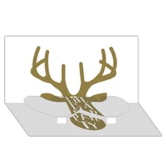 Life Is A Party Buck Deer Twin Heart Bottom 3d Greeting Card (8x4)